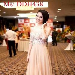 Đầm maxi hồng dự tiệc vải ren hoa nổi sang trọng xinh đẹp DDH438