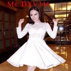 Đầm xòe công chúa trắng phối ren dễ thương xinh đẹp DXV346