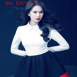 Đầm xòe công sở kiểu cổ sơ mi phối màu chân váy xinh đẹp DXV343