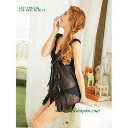 Váy ngủ gợi cảm kiểu xinh thun lưới mịn màu đen