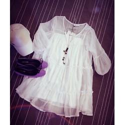 Đầm xô trắng pha ren so hot