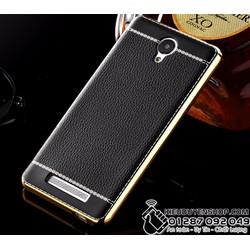 Ốp lưng dẻo vân da viền vàng cho Xiaomi Redmi Note 2