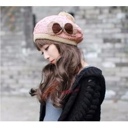 Mũ nón len bêrê kẹp nơ phong cách hàn-VSN00021