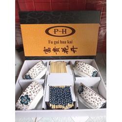 Bộ quà tặng 6 chén 6 đôi đũa Nhật