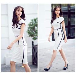 Đầm ôm thiết kế viền sọc tinh tế hiện đại