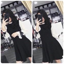 Đầm xoè phối trắng đen siêu cute