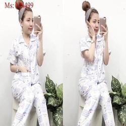 Đồ bộ nữ mặc nhà pyjama quần dài hình chú gấu xinh xắn NN499