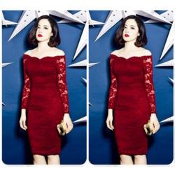 Đầm ren tay dài trể vai Ruco