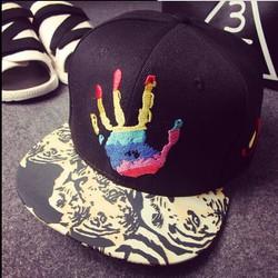 nón lưỡi trai mũ hiphop mũ bóng chày thêu hình bàn tay nón cặp