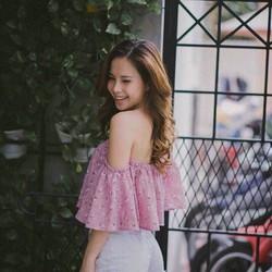 Áo trễ vai hoa hotgirl xinh xắn - vải đẹp y hình