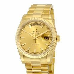 Đồng hồ kim vàng dây kim loại có ngày