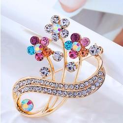 ctx_ca18_cài áo hoa gắn đá màu kiểu Hàn Quốc điệu đà