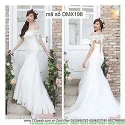 Đầm ren cô dâu trễ vai váy đuôi cá kiêu sa sDMX198