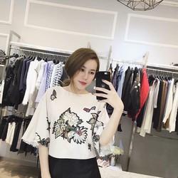 Sét áo hoa cúc trắng + váy fom A xinh xắn