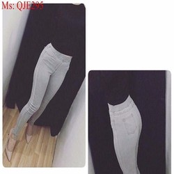Quần jean lưng cao ống ôm xẻ tà sành điệu phong cách QJE295
