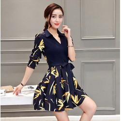 Đầm xoè tùng lá màu