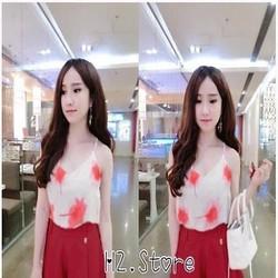Sét áo 2 dây họa tiết hoa và chân váy xòe xinh đẹp SEV377