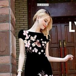 Đầm công sở tay con họa tiết hoa Lan quyến rũ sang trọng tDCS22
