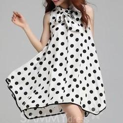 Đầm Oversize Chấm Bi Nơ