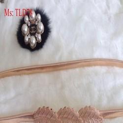 Dây nịt nữ mang đầm bản nhỏ kiểu 3 lá sang trọng TLD78