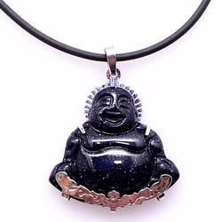 Dây chuyền Nam mặt đá thạch anh ánh nhũ Phật Di Lặc THE OXFORD 6880