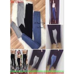 Quần jean lưng cao ống ôm xẻ tà sành điệu phong cách