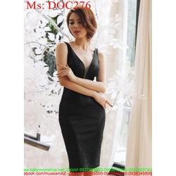 Đầm ôm đen xẻ cổ V vải hoa văn xinh đẹp và thời trang DOC276 View