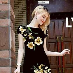 Đầm công sở tay con họa tiết hoa Lài nổi bật sang trọng tDCS21