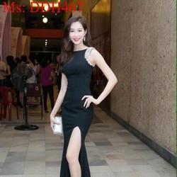 Đầm dạ hội maxi sát nách đen đính hạt sang trọng và xẻ đùi DDH467