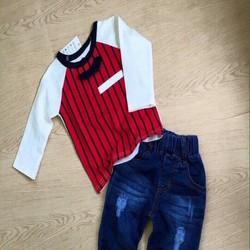 Set bé trai áo sọc quần jean sành điệu cho bé