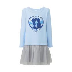 Váy bé gái họa tiết công chúa màu 60 Light Blue - hàng nhập Nhật