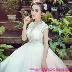 Đầm cô dâu ren phối lưới tay con váy bồng bềnh siêu xinh sDMX129