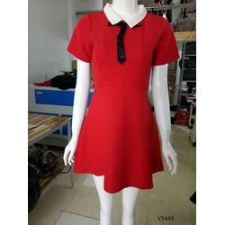 V5445125-Đầm xòe cổ sơ mi thiết kế nơ cổ xinh xắn