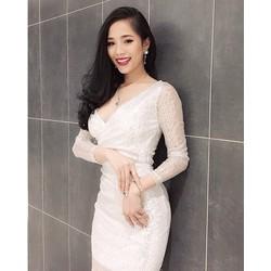 Đầm kim sa tay dài