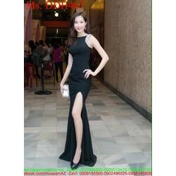 Đầm dạ hội maxi sát nách đen đính hạt sang trọng và xẻ đùi