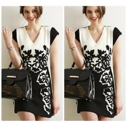 Đầm suông thiết kế phối hoạ tiết thanh nhã