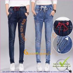 Quần jean harem lưng thun quần harem lưng cao GLQ018