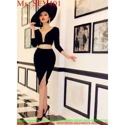 Sét áo tay dài xẻ cổ V phối chân váy xẻ đùi SEV401 View