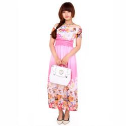 Đầm Maxi Hoa Trễ Vai HỒNG