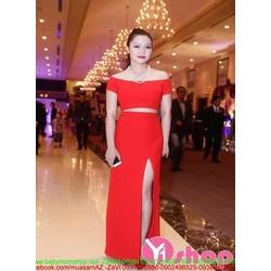 Chân váy bút chì dài xẻ đùi màu đỏ sang trọng