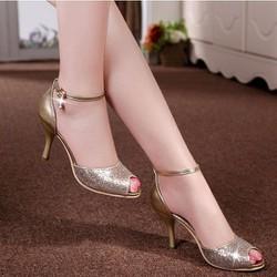 Giày cao gót hở mũi lấp lánh