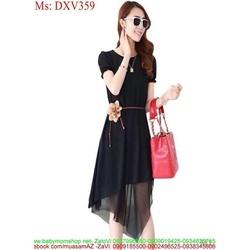 Đầm xòe đen công sở thời trang phối lưới phong cách
