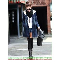 Áo khoác jean nữ form dài có nón sành điệu và cá tính