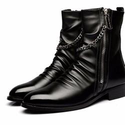 Giày boots nam xích khóa