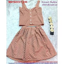 Set áo 2 dây váy chấm bi màu hồng da trẻ trung