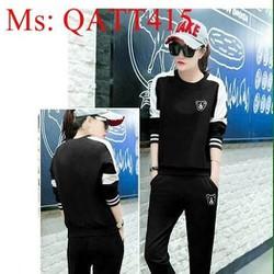 Bộ thể thao nữ áo tay dài phối sọc sành điệu và phong cách QATT415