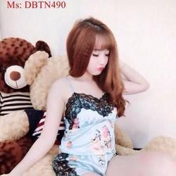 Đồ bộ nữ mặc nhà short 2 dây hoa hồng dễ thương phối ren DBTN490