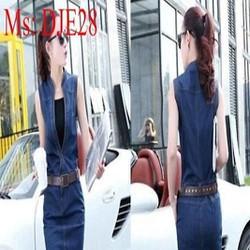 Đầm jean công sở sát nách form ôm sành điệu thời trang DJE28