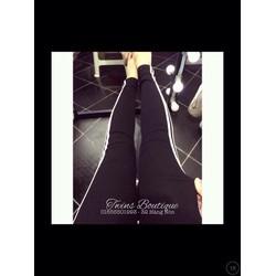 quần legging thun hai sọc đen xám