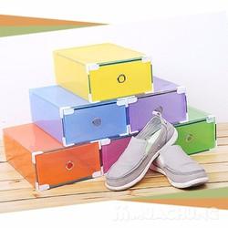 Bộ 2 hộp đựng giày nhựa trong suốt khung thép